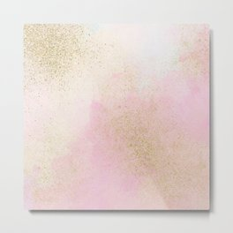 Pretty In Pink And Gold Delicate Abstract Painting Metal Print