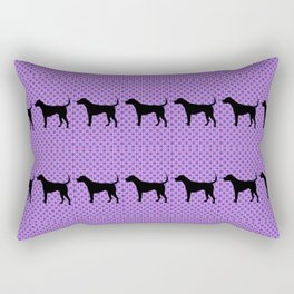Black Lab in Purple Pattern Rectangular Pillow