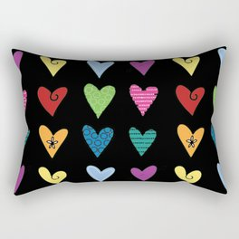 Funky Heart Doodles Rectangular Pillow