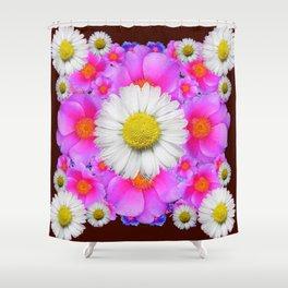 Colorful Fuchsia Rose Bouquet Garden Shasta Daisies Shower Curtain