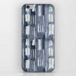 Simply Shibori Lines in Indigo Blue on Lunar Gray iPhone Skin