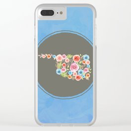 Oklahoma Watercolor Flowers on Blue Clear iPhone Case