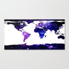 world map. (Blue Purple Galaxy) Canvas Print
