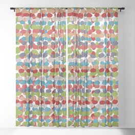 Speckled, Colorful Abstract Dot Pattern, Red, Blue, Green, Orange Sheer Curtain