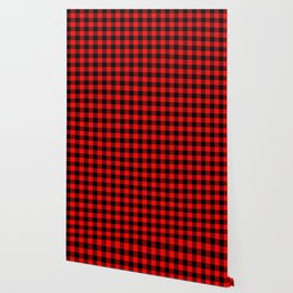 Jumbo Berry Red and Black Rustic Cowboy Cabin Buffalo Check Wallpaper