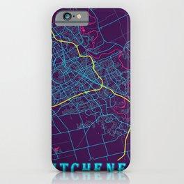 Kitchener Neon City Map, Kitchener Minimalist City Map Art Print iPhone Case