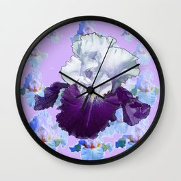 PURPLE IRIS BLUISH IRIS GARDEN MIRAGE  ABSTRACT Wall Clock