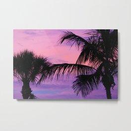 Palm Tree Sunset Metal Print