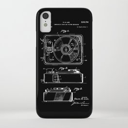 Turntable Patent - White on Black iPhone Case