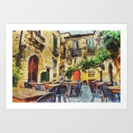 Vintage streets in Calabria Tropea Art Print