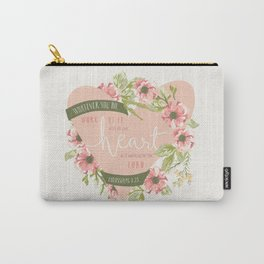 """""""All Your Heart"""" Floral Bible Verse Print Carry-All Pouch"""