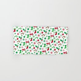 Red And Green Christmas Objects Decor Hand & Bath Towel