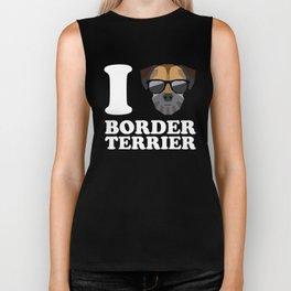 I Love Border Terrier modern v2 Biker Tank
