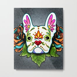 French Bulldog in White - Day of the Dead Sugar Skull Dog Metal Print