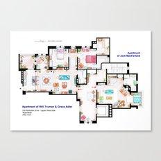 Apartments of Will Truman, Grace Adler and Jack - Floorplan Canvas Print