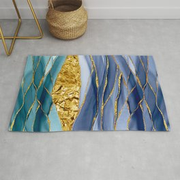 Blue And Teal And Gold Mermaid Glamour Marble Landscape  Rug
