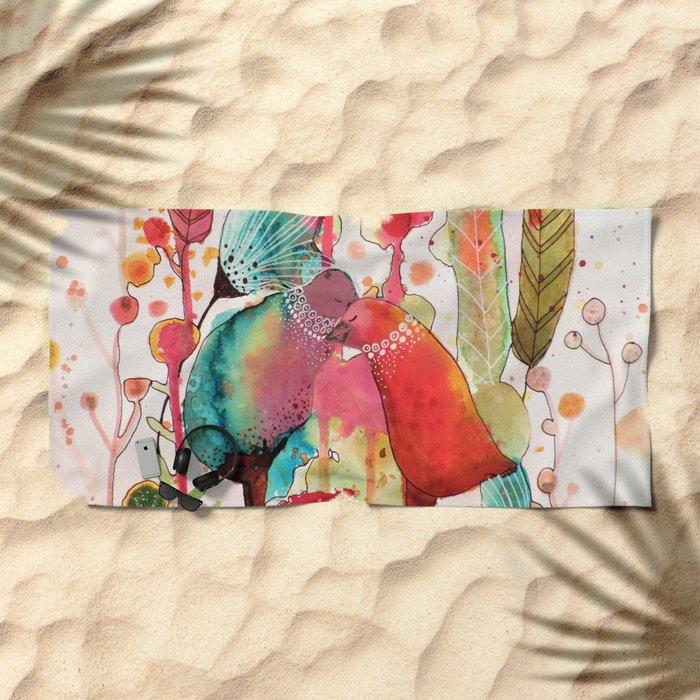 les mots doux Beach Towel