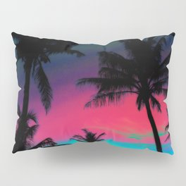 Deep Pink Palm Tree Sunset Kissenbezug