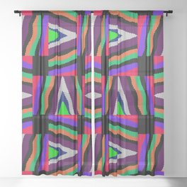 Textured Colorful Stripes Sheer Curtain