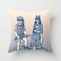 gotham Throw Pillows featuring Moonrise Gotham by Ramon Villalobos