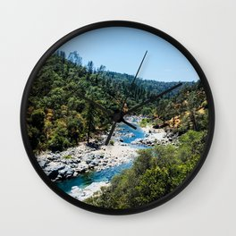Rustic Mountain Vibes | South Yuba River California Forest Wilderness Hikers Landscape Photograph Wall Clock