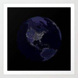 Earth Globe Lights Art Print