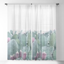 Mint Cactus Sheer Curtain