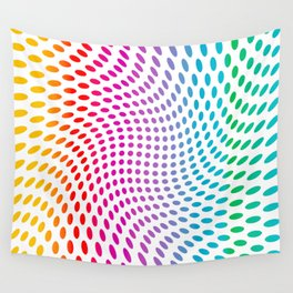 Approaching and receding shapes in CMYK - Optical game 17 Wall Tapestry