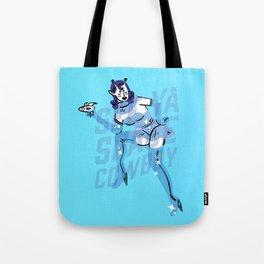 Alien vs Cowgirl Tote Bag