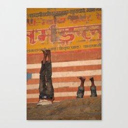 Doing Yoga on the Ghats Canvas Print