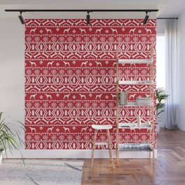 Whippet fair isle dog breed pattern christmas holidays gifts dog lovers red and white Wall Mural