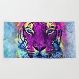 tiger purple spirit #tiger Beach Towel