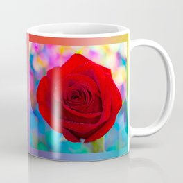 Red Rose and Rainbow Bokeh Coffee Mug