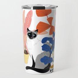 siamese cat and plants Travel Mug