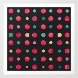 Planets Pattern Black Universe Art Print
