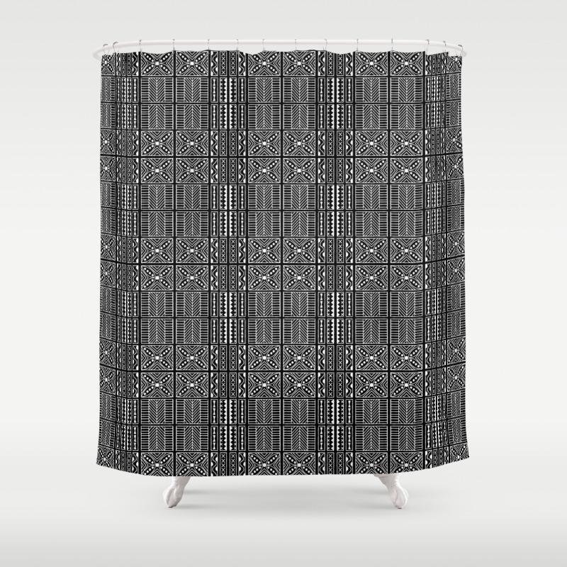 Black And White Kapa Geometric Hawaiian Bark Cloth Shower Curtain