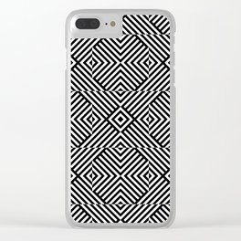 Black and white op art pattern with striped lines and squares Clear iPhone Case