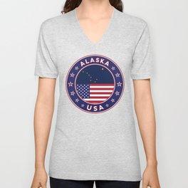 Alaska, Alaska t-shirt, Alaska sticker, circle, Alaska flag, white bg Unisex V-Neck