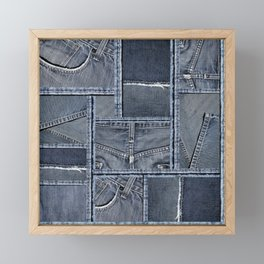 Blue Jeans Denim Patchwork Pattern Framed Mini Art Print