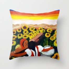Classical Masterpiece Mexican Sunflowers 'Chismosas' floral landscape painting Throw Pillow