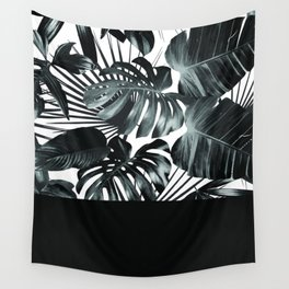 Palm Leaves and Black Wall Tapestry