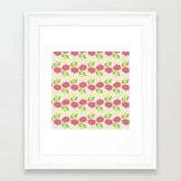 vegetable Framed Art Prints featuring VEGETABLE-RADISH! by Claudia Ramos Designs