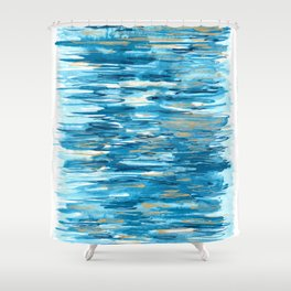 Golden Reflections - Abstract Watercolor Ocean Inspired Painting Shower Curtain