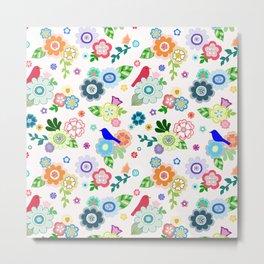 Whimsical Spring Flowers in Pink Metal Print