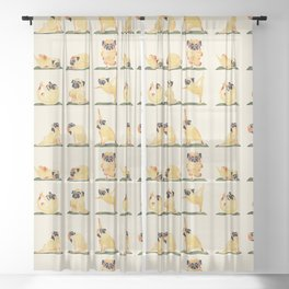 Pug Yoga Watercolor Sheer Curtain
