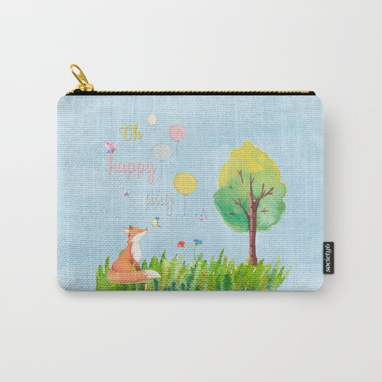 Fox- oh happy day on blue backround- Watercolor illustration Carry-All Pouch