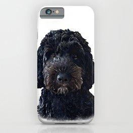 Black Cockapoo / Doodle Dog Portrait  iPhone Case