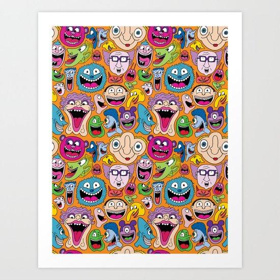 Creepy Smiles Pattern Art Print