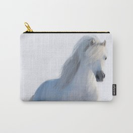 Albus the white horse galloping through a snow drift Carry-All Pouch