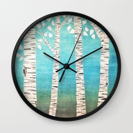 Turquoise birch forest Wall Clock